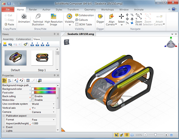 SOLIDWORKS Composer User Interface