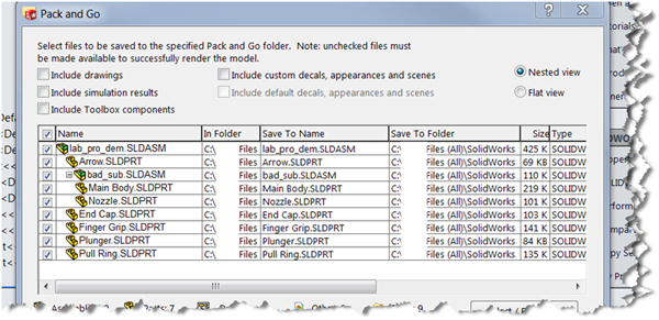 Pack and Go gathers all related files in SOLIDWORKS
