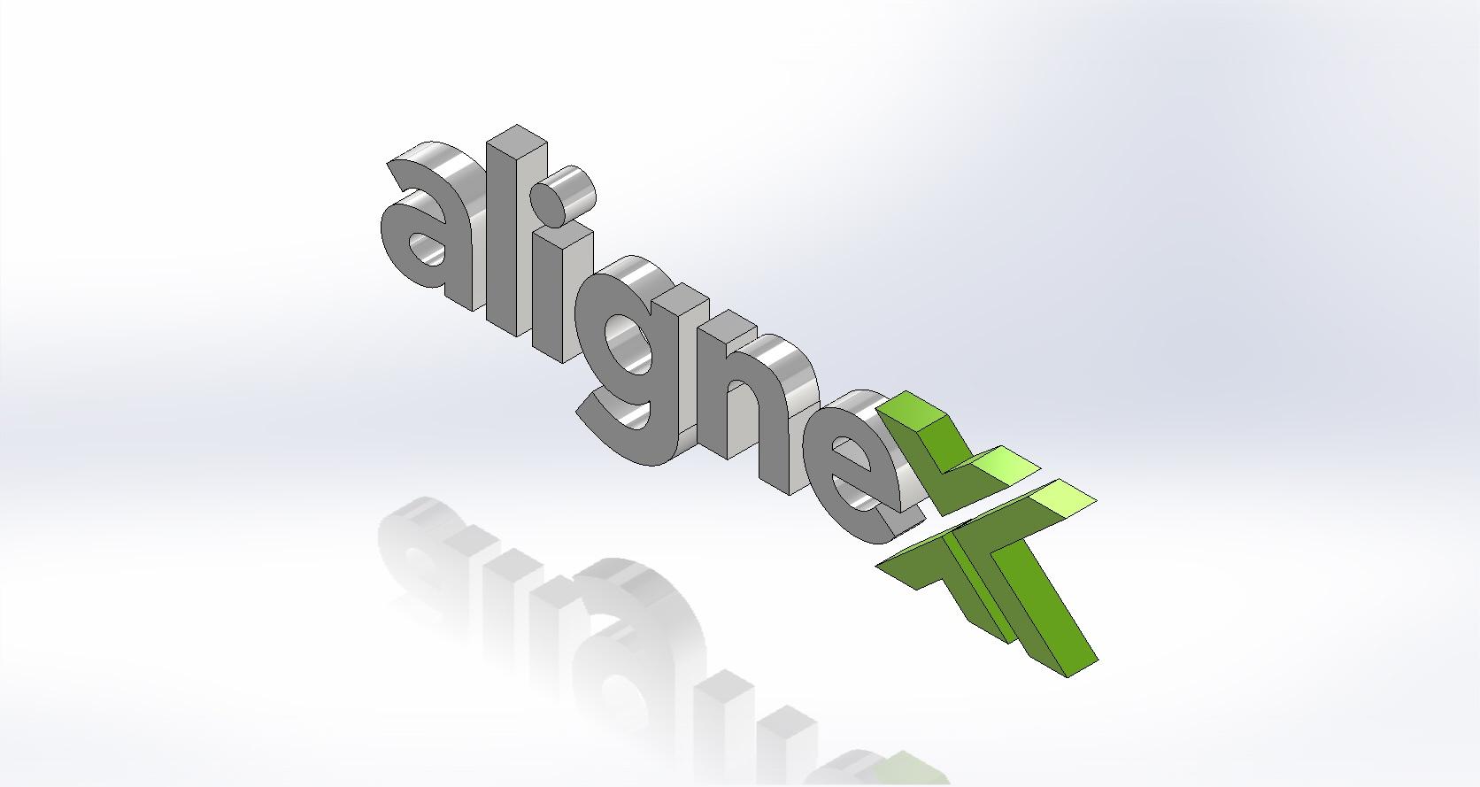 Alignex Logo Sketched in SOLIDWORKS Sketcher