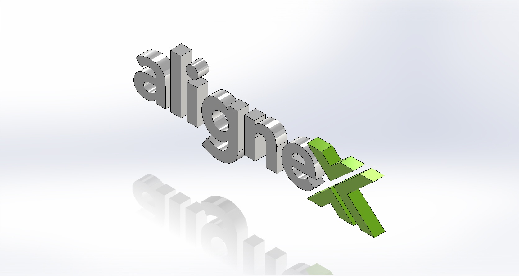 Alignex Logo Sketched in SOLIDWORKS Sketcher