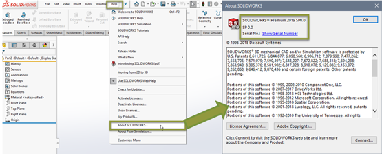 How Do I Find my Service Pack, Version and Serial Number for SOLIDWORKS?