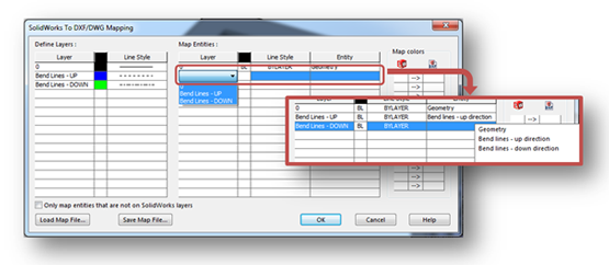 SOLIDWORKS to DXF/DWG Mapping to Define Layers and Map Entities