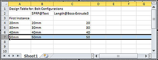 Comsolidworks Design Table : Next, I will left click in the graphics window, the table closes ...