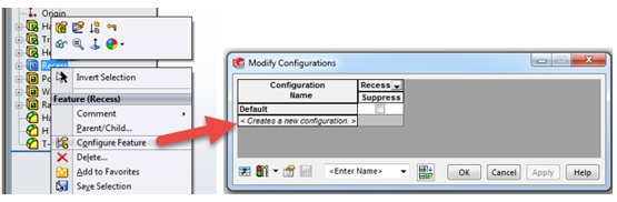 Configure Feature in SOLIDWORKS