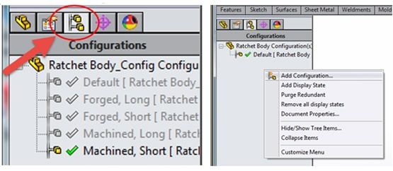 Configurations Manager SOLIDWORKS