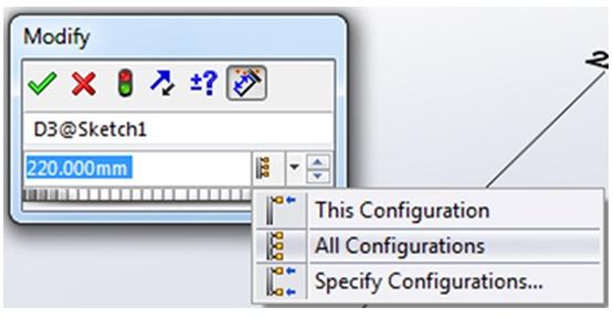 Modify Configuration in SOLIDWORKS