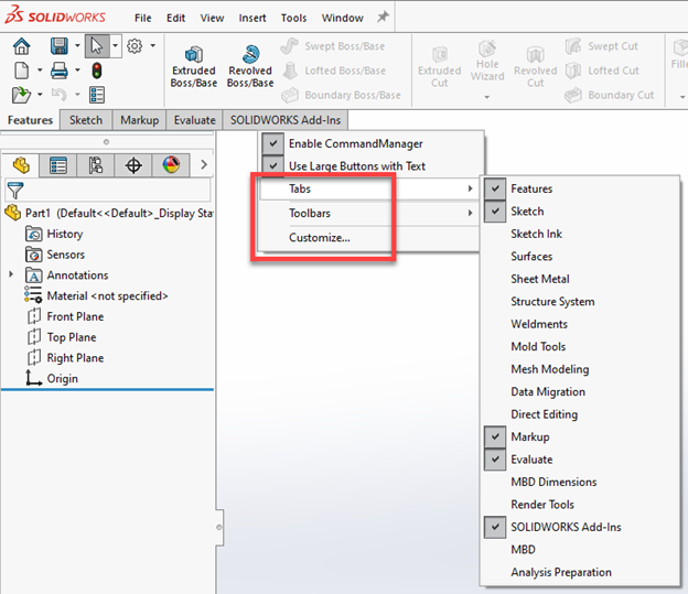 SOLIDWORKS 2020 User Interface Improvements