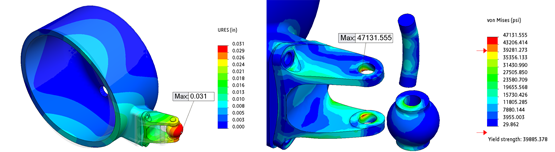 SOLIDWORKS Simulation Stress and Displacement Results